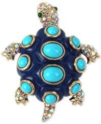Betsey Johnson Gold Tone Pave Blue Enamel Spotted Turtle Pin