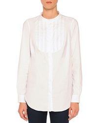 Piazza Sempione Fish Wire Loop Tuxedo Blouse White