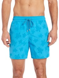 Vilebrequin Moorea Flocked Turtles Shorts Blue