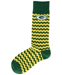 For Bare Feet Green Bay Packers Chevron Striped Socks Green Yellow