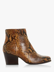 Bertie Poket Leather Block Heel Ankle Boots Camel Reptile
