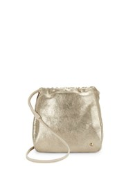 Halston Metallic Faux Leather Drawstring Crossbody Platinum