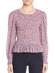 Rebecca Taylor Long Sleeve Ruched Top Pink