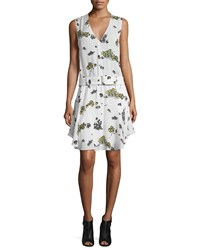 A.L.C. Hadley Belted Floral Silk Dress Eggshell Cactus Mint Women's