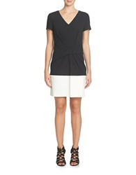 Cynthia Steffe Short Sleeve Colorblocked Sheath Dress Rich Black