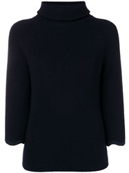 Red Valentino Ribbed Turtle Neck Jumper Blue