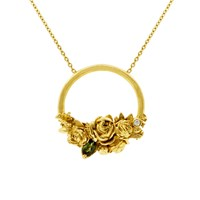 Lee Renee Rose Halo Diamond And Tourmaline Necklace Gold Yellow Orange Gold