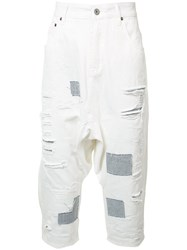 Mostly Heard Rarely Seen Distressed Cropped Jeans White