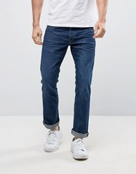Jack And Jones Intelligence Straight Fit Jeans In Dark Blue Wash Blue Denim