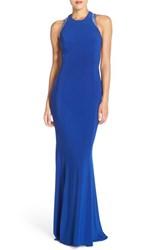 Women's Faviana Beaded Cutout Back Sleeveless Gown