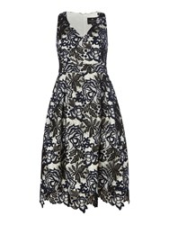 Ariella Block Colour Shift Dress With Lace Waist White And Navy White And Navy
