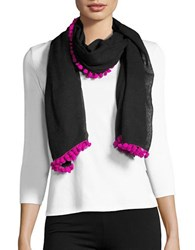 Bindya Pom Pom Trimmed Wrap Black