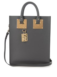 Sophie Hulme Mini Albion Leather Tote Dark Grey