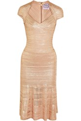 Herve Leger Metallic Bandage And Pointelle Knit Midi Dress Pink