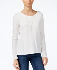 Sanctuary Long Sleeve Scoop Neck Top Winter White
