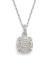 Judith Ripka 18K Yellow Gold And Sterling Silver Round Pave Diamond Pendant Necklace 17 White Silver