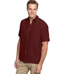 Tasso Elba Silk Linen Short Sleeve Crosshatch Shirt Port