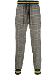 Dolce And Gabbana Check Wool Track Pants Black