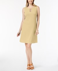 Jm Collection Petite Three Ring Sheath Dress Fresh Yellow