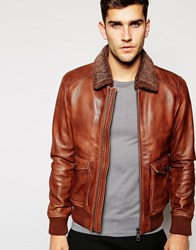 Esprit Leather Flight Jacket With Sherpa Collar Brown