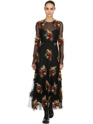 Antonio Marras Floral Embroidered Mesh Dress Black