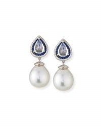 Belpearl South Sea Pearl Drop Earrings With Moonstone Blue Sapphires And Diamonds