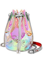 Christian Louboutin Marie Jane Spiked Iridescent Pvc And Glittered Leather Bucket Bag Clear