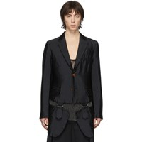 Comme Des Garcons Homme Plus Black Garment Treated Buckle Blazer