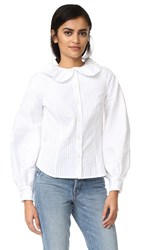 Mds Stripes Peasant Sleeve Blouse White Rib