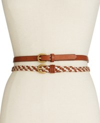 Inc International Concepts 2 For 1 Skinny Belts Only At Macy's Cognac