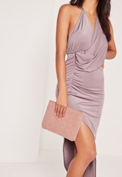 Missguided Woven Detail Clutch Bag Pink Mauve