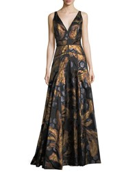 J. Mendel Sleeveless V Neck Brocade Gown Bronze