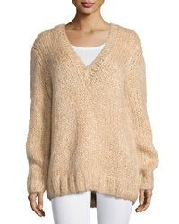 Michael Kors Collection Long Sleeve V Neck Sweater Nude Women's Size L
