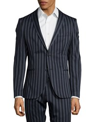 Selected Striped Suit Jacket Dark Navy