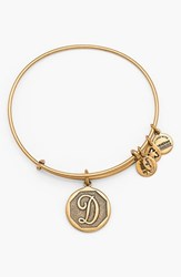 Women's Alex And Ani 'Initial' Adjustable Wire Bangle D Russian Gold