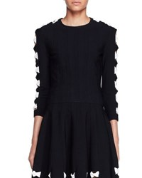Alexander Mcqueen Knit Bow Sweater With Cutouts Black White Black White