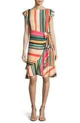 Eci Multi Stripe Front Wrap Dress Beige Red