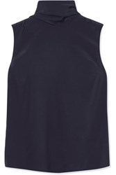 Roksanda Ilincic Bow Detailed Silk Crepe De Chine Top Navy