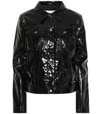 Calvin Klein Jeans Faux Patent Leather Jacket Black