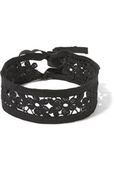 Anna Sui Guipure Lace And Grosgrain Choker Black