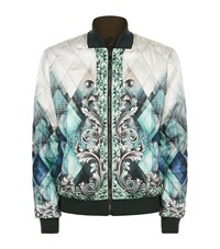 Versace Collection Baroque Print Bomber Jacket Male Green