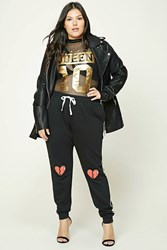 Forever 21 Plus Size Graphic Sweatpants Black Red
