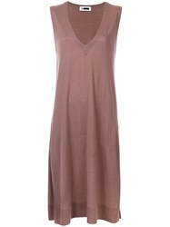H Beauty And Youth. Side Slits Knit Tank Brown