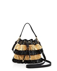 Milly Small Raffia Drawstring Bucket Bag Black Multi