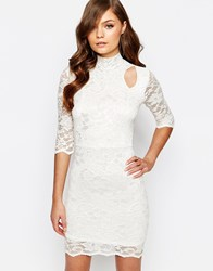 Tfnc High Neck Lace Dress With Cold Shoulder Detail White