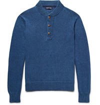 Alex Mill Melange Cotton Henley Sweater Blue