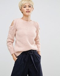 Oneon Hand Knitted Jumper With Cold Shoulder And Cable Sleeve Pink