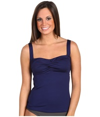 Tyr Solid Twisted Bra Tankini Navy Women's Swimwear