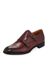 Giorgio Armani Leather Double Monk Shoe Maroon
