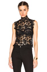 Theperfext Sabrina Crochet Lace Sleeveless Top In Black